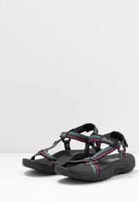 Skechers - REGGAE - Chodecké sandály - black/teal/pink - 4