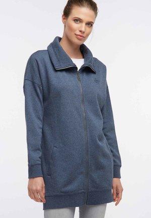 Zip-up hoodie - dark gray-blue melange