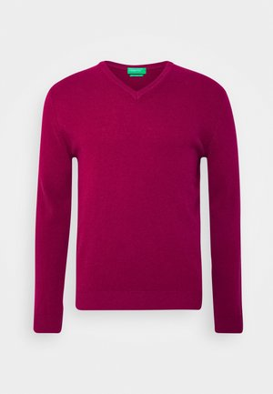 BASIC V NECK - Jumper - cherry