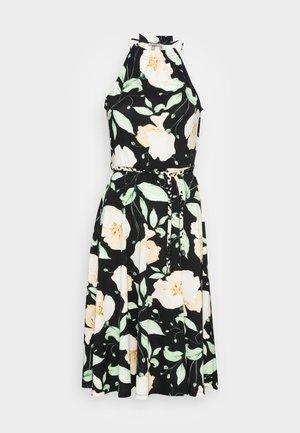 HALTER NECK BRAIDED BELT DRESS  - Trikoomekko - black/white/green