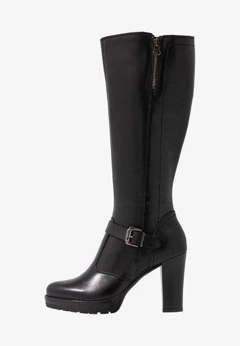 LEATHER BOOTS - High heeled boots - black