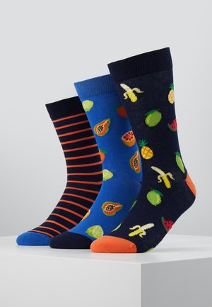 3 PACK - Calcetines - dark blue/blue/orange
