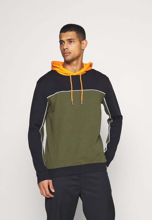 COLOUR BLOCK HOODIE - Mikina - black mix