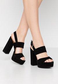 Even&Odd - LEATHER - Højhælede sandaletter / Højhælede sandaler - black - 0