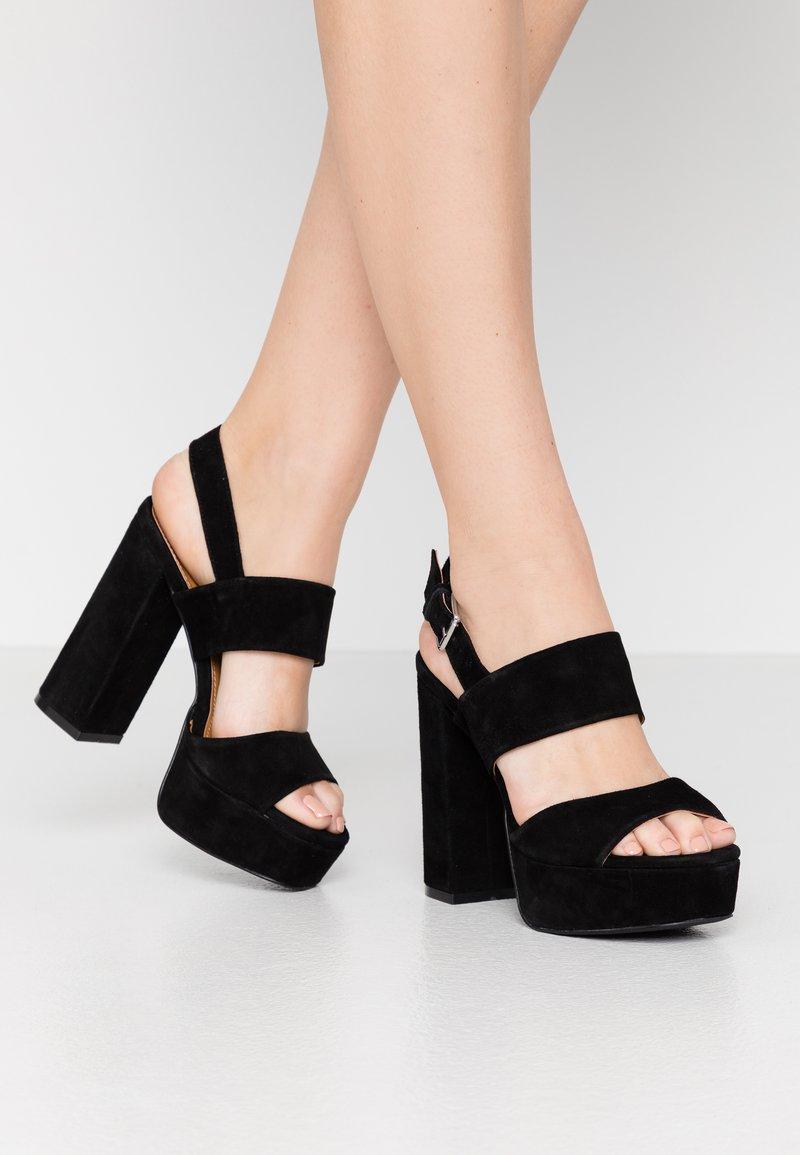 Even&Odd - LEATHER - Højhælede sandaletter / Højhælede sandaler - black