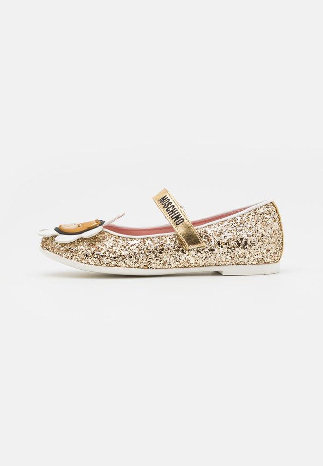 Ballerina's met enkelbandjes - gold