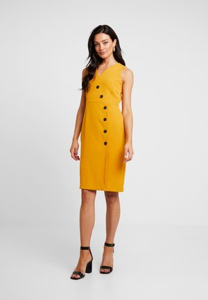 V NECK BUTTON DRESS - Abito a camicia - yellow