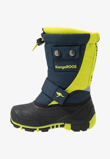 BEAN - Winter boots - darkk navy/lime