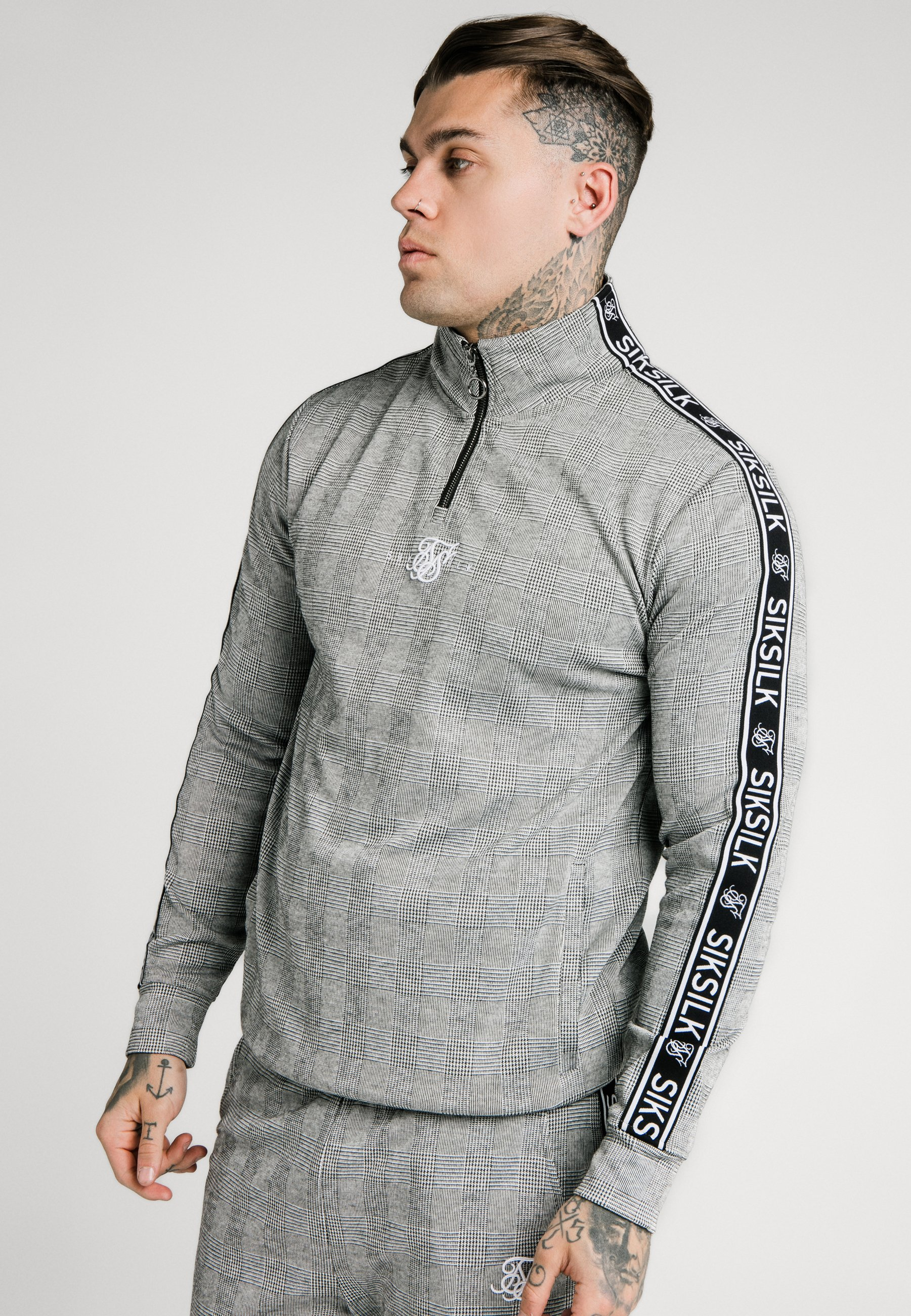 Homme TOOTH CHECK QUARTER ZIP FUNNEL NECK - Pullover