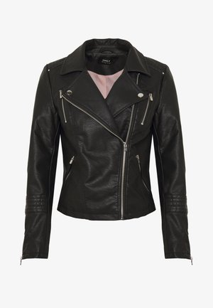 ONLGEMMA BIKER - Faux leather jacket - black
