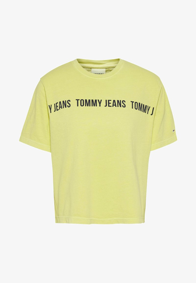 Tommy Jeans - CROP TAPE TEE - Print T-shirt - limone