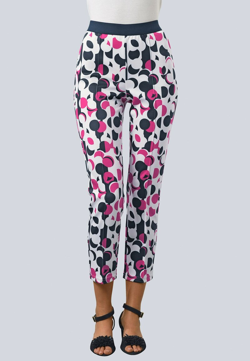 Alba Moda - Trousers - wollweiß,pink,marineblau