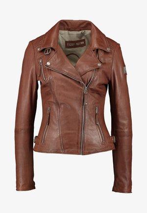 BIKER PRINCESS - Leather jacket - dark cognac