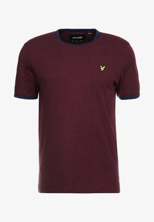 RINGER TEE - Basic T-shirt - burgundy/navy