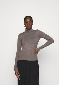 Dorothy Perkins - PEARL BUTTON CUFF ROLL NECK JUMPER - Jumper - taupe - 0