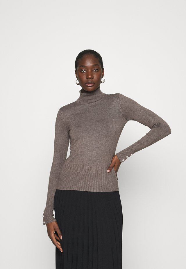 PEARL BUTTON CUFF ROLL NECK JUMPER - Jumper - taupe