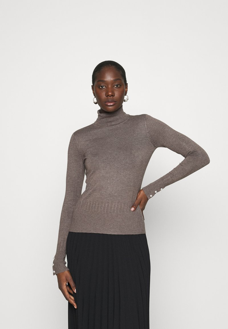 Dorothy Perkins - PEARL BUTTON CUFF ROLL NECK JUMPER - Jumper - taupe