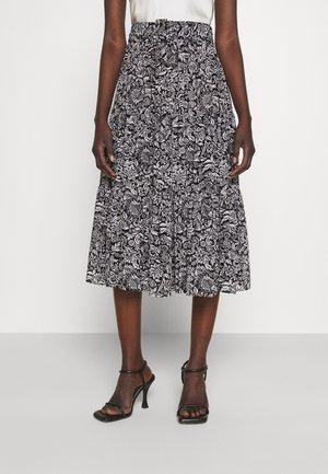 HIPPIE MIDI SKIRT - A-line skirt - black/white