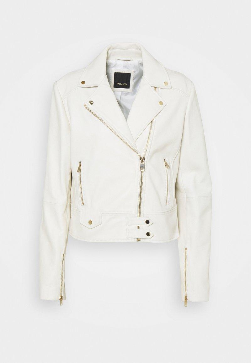 Pinko - SENSIBILE CHIODO - Leather jacket - white