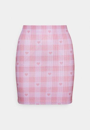 HEART GINGHAM SKIRT - Mini skirt - purple