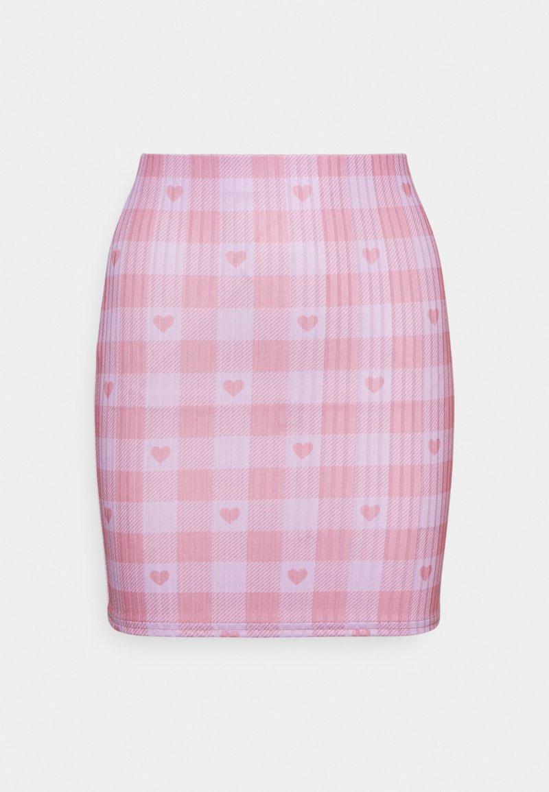 NEW girl ORDER - HEART GINGHAM SKIRT - Mini skirt - purple