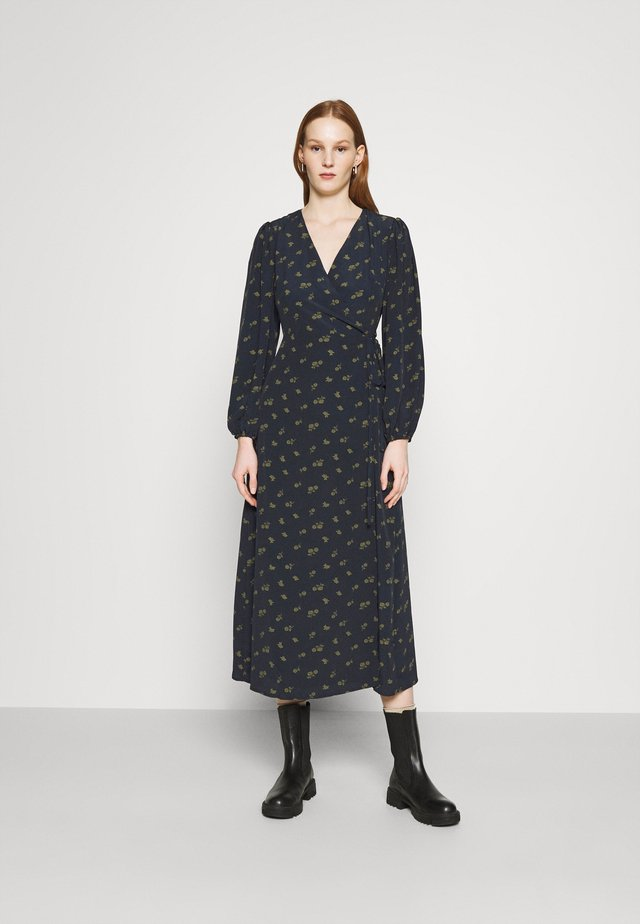 LONG SLEEVE WRAP DRESS WITH V NECK - Maxi-jurk - olive rose