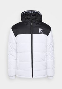 Karl Kani - HOODED BLOCK PUFFER JACKET - Winter jacket - white - 4