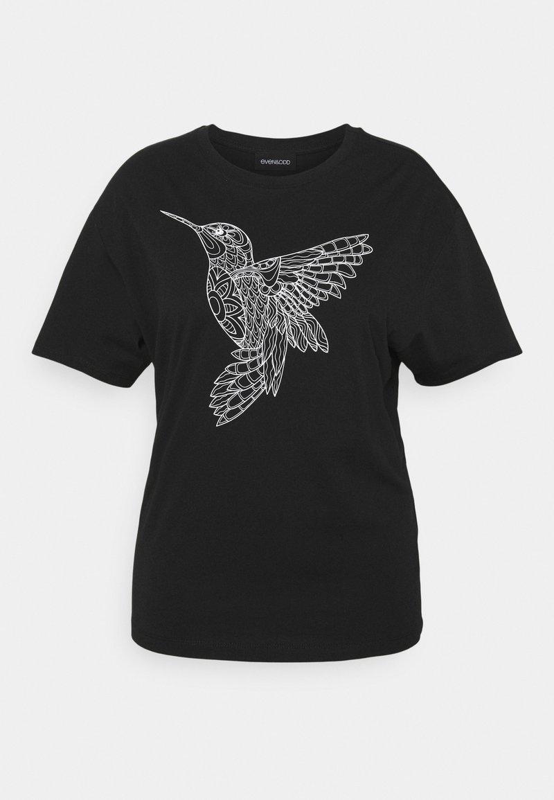 Even&Odd Curvy - HATTIE MANDALA BIRD - Print T-shirt - black