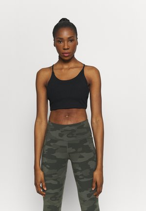 CROP - Light support sports bra - black