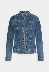 ONLTIA BANDIT BIKER JACKET - Denim jacket - medium blue denim