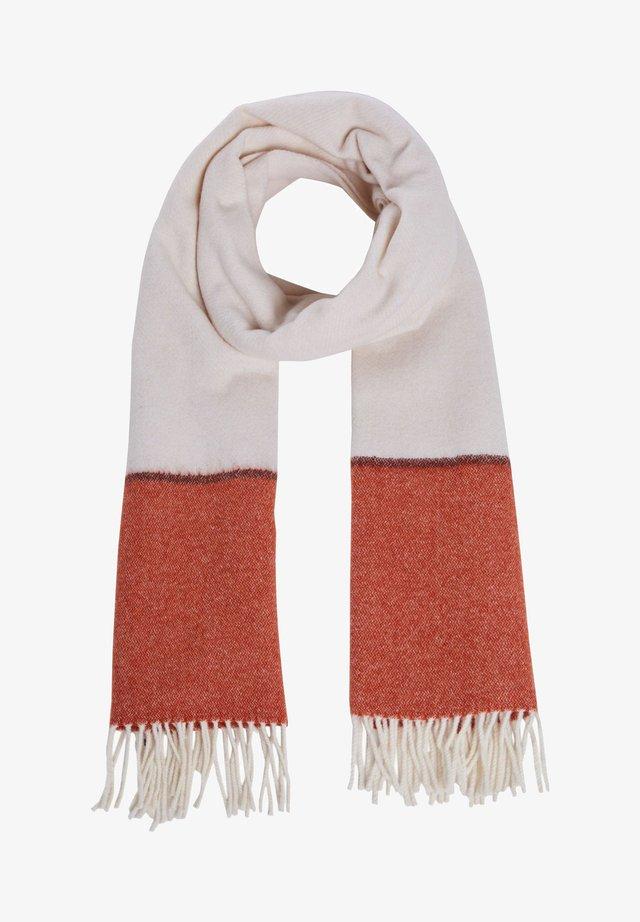 Sjaal - dk orange white