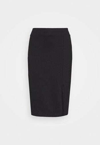 BASIC - Midi skirt with slit - Blyantnederdel / pencil skirts - black