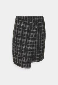 ONLY - ONLALBA SHORT SKIRT - Wrap skirt - dark grey melange/white - 0