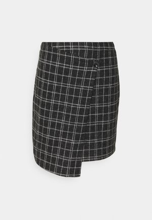 ONLALBA SHORT SKIRT - Wrap skirt - dark grey melange/white