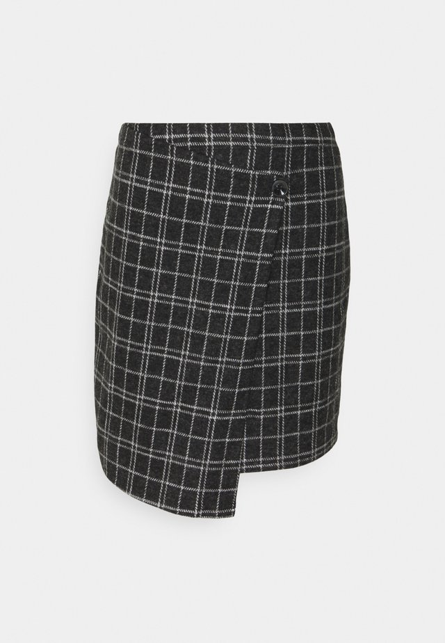 ONLALBA SHORT SKIRT - Jupe portefeuille - dark grey melange/white