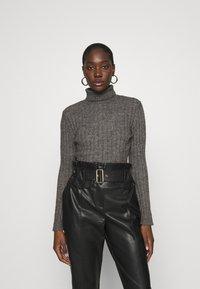 Zign - Wool blend- fitted roll neck - Jersey de punto - mottled dark grey - 0