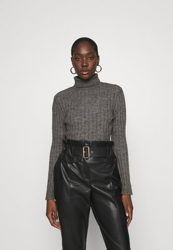 Wool blend- fitted roll neck - Jumper - mottled dark grey