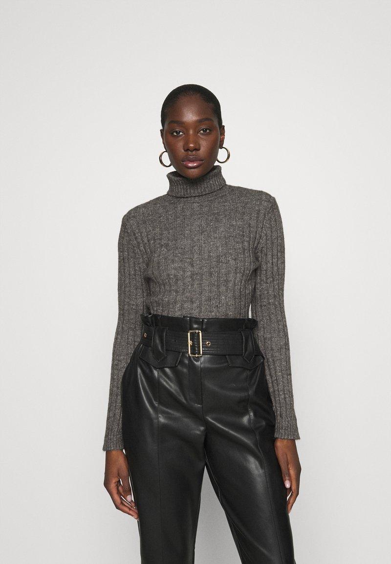 Zign - Wool blend- fitted roll neck - Jersey de punto - mottled dark grey