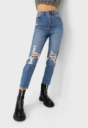 MIT SCHLITZEN  - Jeansy Slim Fit - blue denim