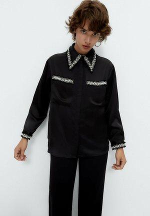 MIT BAND - Button-down blouse - black