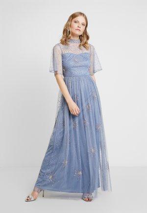 EMBELLISHED HIGH NECK MAXI DRESS - Společenské šaty - blue