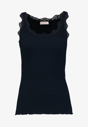 ORGANIC TOP WITH LACE - Toppi - dark blue