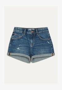 Bershka - DENIM-SHORTS MIT SAUMAUFSCHLAG 02596211 - Jeansshorts - light blue - 4