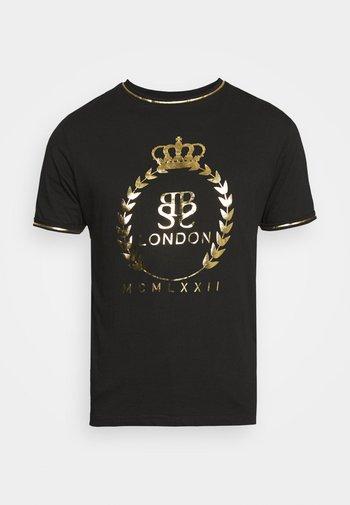 KING - T-shirt con stampa - jet black/gold foil/white