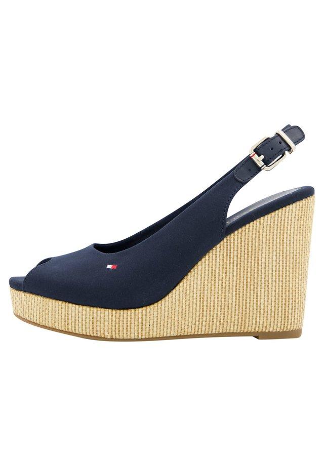 ICONIC ELENA SLING BACK WEDGE - Sandalen met hoge hak - marine