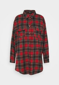 Missguided - BRUSHED OVERSIZED BASIC CHECK  - Button-down blouse - red - 4