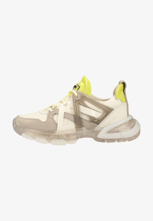 High-top trainers - off white/l.grey/lime