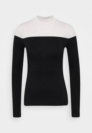 COLOR BLOCK JUMPER - Jersey de punto - black/white