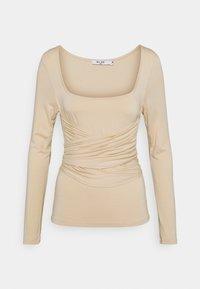 NA-KD - HALTERNECK - Long sleeved top - light beige - 0