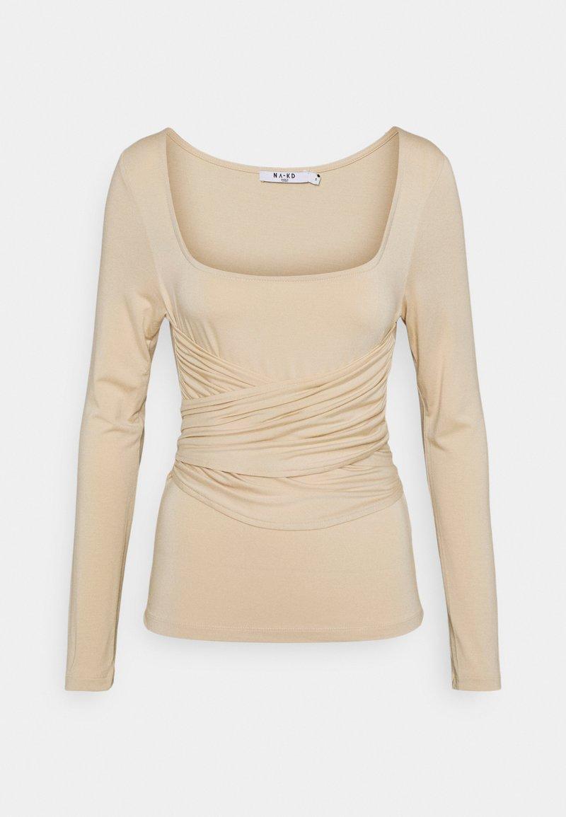 NA-KD - HALTERNECK - Long sleeved top - light beige